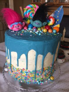 Trolls movie rainbow birthday cake