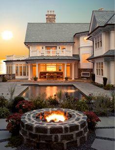Firepit by pool. Backyard wth firepit by pool. Firepit backyard Pool #Firepit #Pool #Backyard Peter Cadoux Architects.