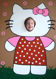 Hello Kitty Birthday party ideas & food- including this Photo booth idea