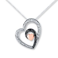 Heart Necklace 1/10 ct tw Diamonds Sterling Silver/10K Gold