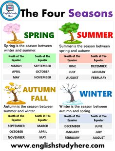 Learn the Seasons in English Learning English For Kids, English Worksheets For Kids, Kids English, English Tips, English Language Learning, English Study, English Words, Teaching English, Learn English