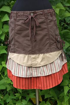 Rust Tan & Brown Layered Tomboy Shirting Skirt  by UpTickChic