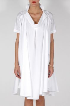 Draped Collar Dress - love the simple and forgiving lines in classy white