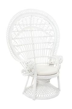 online shopping for KOUBOO Pecock Grand Peacock Chair Rattan Seat Cushion, White, Large from top store. See new offer for KOUBOO Pecock Grand Peacock Chair Rattan Seat Cushion, White, Large