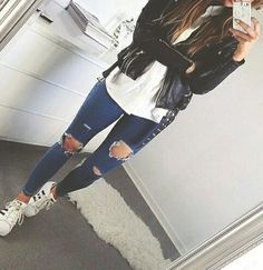 simple outfit with adidas superstar
