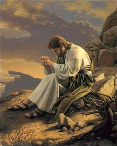 Images of Christ Collection: Detail of Jesus sitting on a rock praying in the wilderness. Pictures Of Jesus Christ, Religious Pictures, Religious Art, Lds Pictures, Group Pictures, Lds Art, Bible Art, Croix Christ, Arte Lds