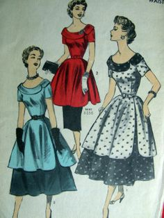 1953 Two-piece dress with scoop neck & collar Vintage Dress Patterns, Clothing Patterns, Vintage Dresses, Vintage Outfits, Vintage Clothing, Rockabilly Clothing, 1950s Fashion, Vintage Fashion, Patron Vintage