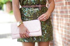 Shelby Skaggs of Glitter & Gingham, J. Crew Sequin Dress & Vera Bradley Clutch