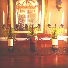Centerpiece made with wine bottles