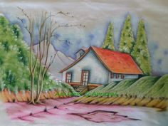 * Life art: painting on fabric Sketchbook Drawings, Art Drawings Sketches Simple, Cool Drawings, Landscape Pencil Drawings, Christmas Teddy Bear, Old Barns, Learn To Paint, Fabric Painting, Creative Art