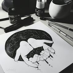 I wish I could touch your darkness    Chimù - Chiara Mulas Illustration on Behance    #ink #galaxy #hands #illustration #black #blackandwhite #mood