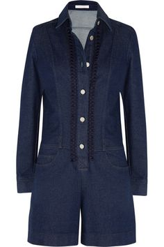 See by Chloé | Embroidered denim playsuit | NET-A-PORTER.COM