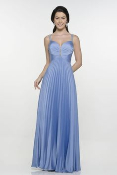 Pleated Spaghetti Strap Beaded Blue Evening Dresses
