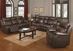 3F7603021PG - Noah Chestnut Bonded Leather Match Sofa + Loveseat - Furniture2Go