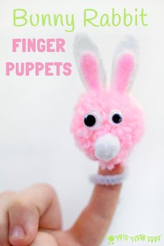 POM POM BUNNY RABBIT FINGER PUPPETS are easy and fun for children to make and a great way to encourage kids imaginative play and story telling.