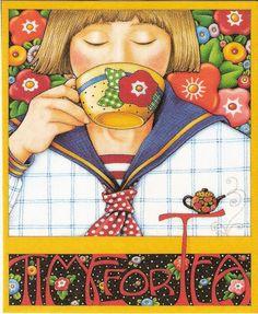 Time For Tea Flower Teacup Teapot Sailor Blouse Magnet Mary Engelbreit Artwork
