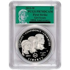 2013 W Girl Scouts Silver Dollar PR70 DCAM FS PCGS Green Girl Scouts Label