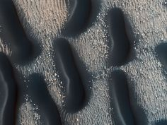 A Dark Dune Field in Proctor Crater on Mars | Credit: HiRISE, MRO, LPL (U. Arizona), NASA | Each dark form spans over football field across. These are large sand dunes on the floor of Proctor Crater on Mars. The dark rippled dunes likely formed more recently than the lighter rock forms they appear to cover, and are thought to slowly shift in response to pervasive winds. The dunes arise from a complex relationship between the sandy surface and high winds on Mars.