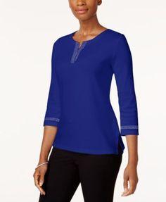 Karen Scott Cotton Studded T-Shirt, Created for Macy's - Purple XXL