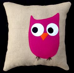 Pink Owl  Throw Pillow COVER - Decorative Pillow Cover Natural Burlap with Bright Pink Owl. $38.00, via Etsy.