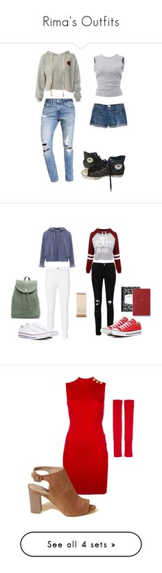 """Rima's Outfits"" by neriniex ❤ liked on Polyvore featuring Sans Souci, Abercrombie & Fitch, Converse, T By Alexander Wang, J.Crew, Miss Selfridge, WithChic, Boohoo, rag & bone and BAGGU"