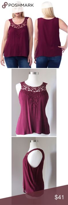 Wine Red Crochet Sleeveless Top No Trades. No Lowball Offers. Fabric: Top (Crochet) 100% Cotton. Bottom: 100% Rayon Tops
