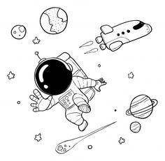Cute astronaut doodle Premium Vector Cartoon Drawings, Mini Drawings, Space Drawings, Sketch Book, Space Doodles, Doodle Art Drawing, Art, Astronaut Drawing, Astronaut Cartoon