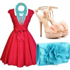 Image result for aqua and red outfits