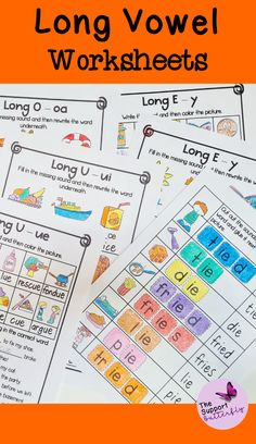 These long vowel phonic worksheets are just what you need for your Kindergarten or First Grade students! These no prep worksheets are perfect for Literacy lessons, Literacy centers or word work. Each phonic activity is easy to implement and students will learn long a, long i, long u, and long o sounds. These printables will be easy and engaging during your spelling or reading lessons. Long Vowel Worksheets, Phonics Worksheets, Phonics Activities, Phonics Sounds, Vowel Sounds, Long Vowels, Reading Lessons, Word Work, Literacy Centers
