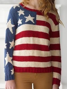 Free Knitting Pattern for Flag Pullover - I think you could knit this stars and stripes sweater without the sleeves to make a cute 4th of July top. Designed by Lion Brand Yarn. S, M/L, 1X/2X