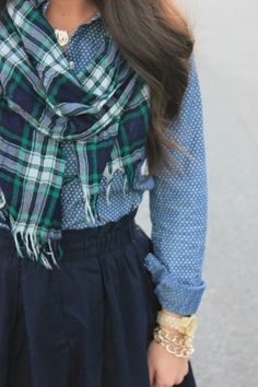 plaid, tiny dots, navy