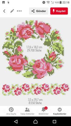 Cross Stitch Rose, Cross Stitch Borders, Cross Stitch Embroidery, Cross Stitch Patterns, Needlework, My Design, Projects To Try, Cushions, Diy