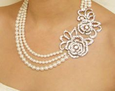 Pearl Bridal Necklace Vintage Wedding Necklace Art by luxedeluxe