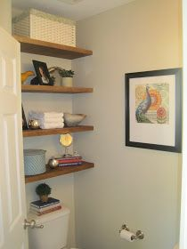 Designed To Dwell: Adding Storage In A Tiny Bathroom — DIY floating shelves!