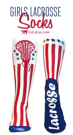 5e34223ce Girls Lacrosse Printed Mid-Calf Socks - Patriotic Lacrosse