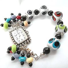 Lampworked Bead Watch/Sterling Silver/Multi by DarlenesGlassGarden, $72.00