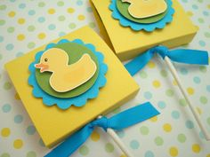 Rubber Ducky Lollipop Favors, Yellow and Blue, Set of Ten via Etsy