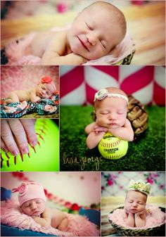 Sweet newborn baby girl, she's bound to play softball when she's older!