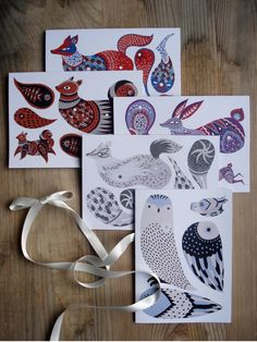 Set of 5 illustrated Greeting Cards. You can cut out the shapes to make your own Animal Pack (Fox, Rabbit,Squirrel,Owl and Wolf)! Each card comes with an envelope and the split pins needed for assembly. Printed on recycled paper.