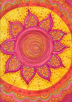 Pretty colours, pretty design; full of flower and sunshine.  I'd like to paint like that myself.