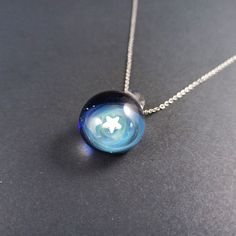 Glass galaxy pendant necklace made with Silver fumed Borosilicate, with a floating opal star, handblown blue glass galaxy pendant with opal Tiny Necklace, Pendant Necklace, Unique Necklaces, Opal Gemstone, Cute Jewelry, Glass Pendants, Pure Products, Resin Art