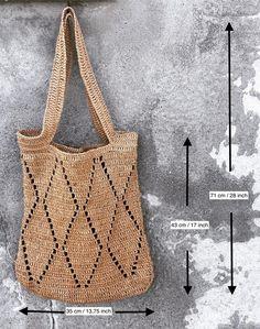 Crochet Market Bag, Crochet Tote, Crochet Simple, Crochet Blanket Patterns, Filet Crochet, Crochet Shoulder Bags, Bag Pattern Free, Knitted Bags, Knit Bag