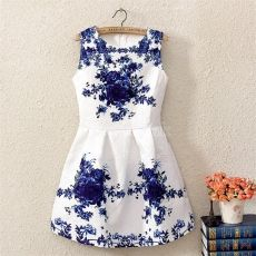 De las mujeres sin mangas blanco y azul porcelana de la impresión floral de la llamarada del mini vestido