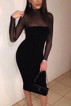Black Mesh High-Necked Long-Sleeves Sexy Bodycon Dress