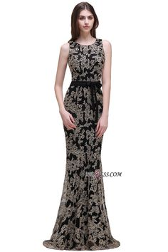 c85029ad8 Sashes Appliques Scoop-neckline Sweep-train Lace Sheath-Column Prom Dress  Item Code: CPS524