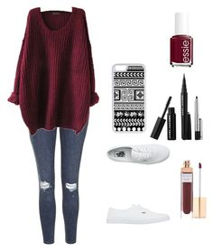 """fall color: maroon"" by abbymaer ❤ liked on Polyvore featuring Topshop, Vans, Sephora Collection, Accessorize, Essie and CellPowerCases"