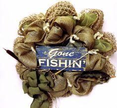 Gone Fishin Deco Mesh Wreath  Deco Wreath  by giftbasketsupplies, $68.99