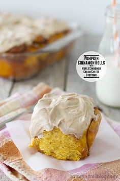 Pumpkin Cinnamon Rolls with Maple Cinnamon Cream Cheese Frosting | www.tasteandtellblog.com