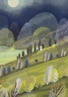 Roger la Borde Summertime Standard Card illustrated by Jane Newland Landscape Illustration, Children's Book Illustration, Botanical Illustration, Digital Illustration, Illustrations, Winter Illustration, What Is Landscape Architecture, Landscape Art, Art Decor