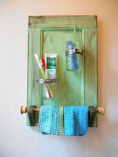 Upcycled Shabby Chic Cottage Bathroom Wall Organizer by KZStudioz, $129.00